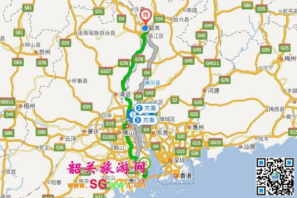 珠海自驾车到韶关旅游地图