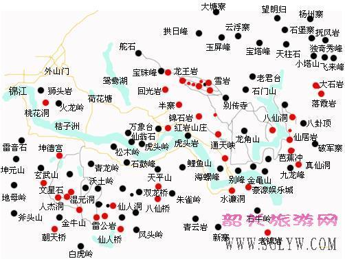 丹霞山旅游景点示意图