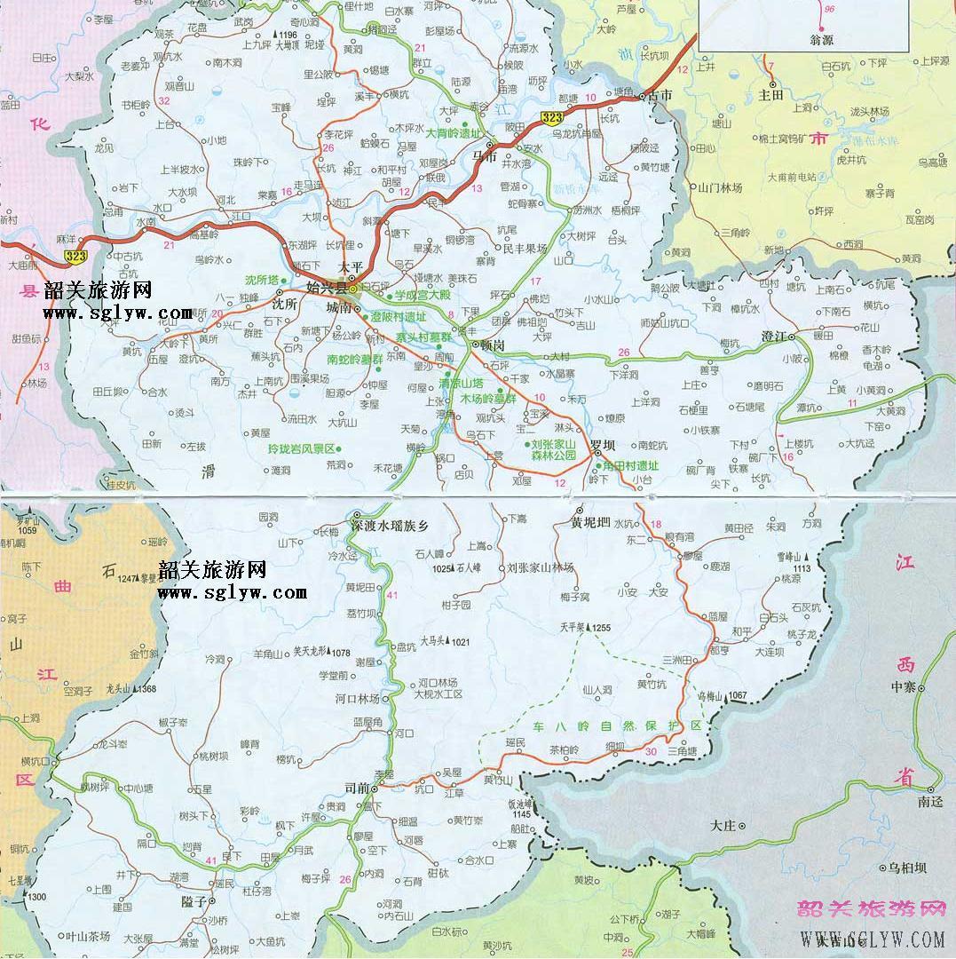 韶关始兴旅游地图