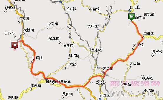 丹霞山到南岭国家森林公园自驾车地图